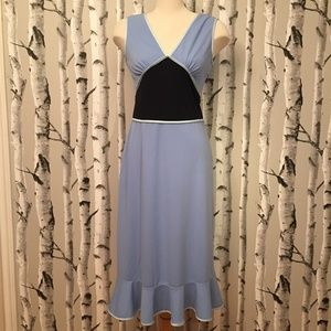 Express Vintage Style Blue Dress with Ruffled Hem